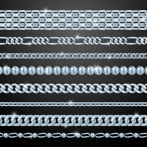 Silver chains set Free Vector