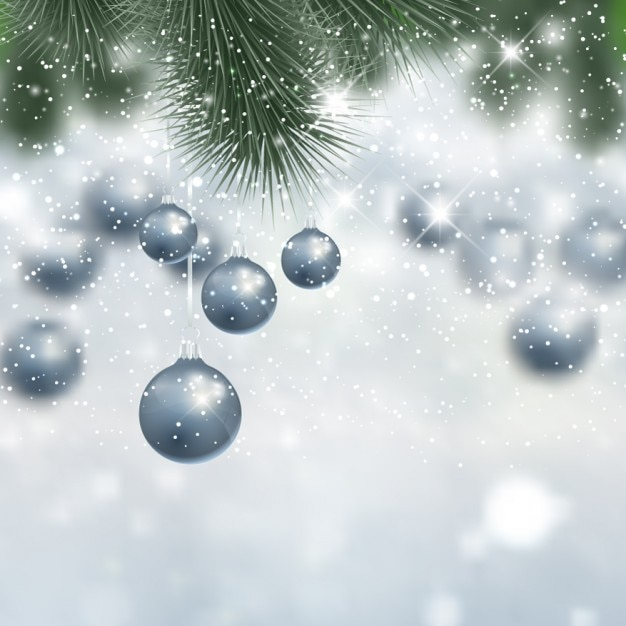 Silver christmas background with baubles Free Vector