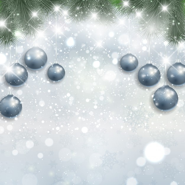 Silver christmas background with hanging\ baubles