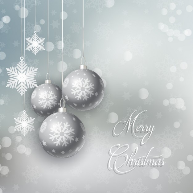 Silver christmas balls background Free Vector