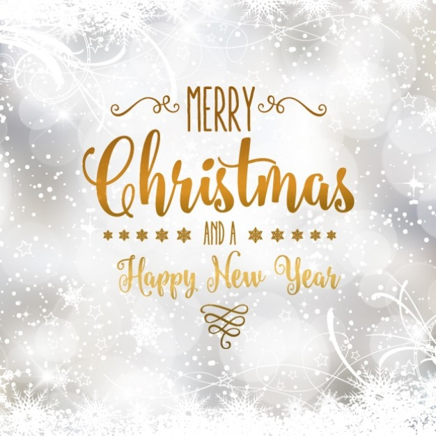 Silver christmas card with golden lettering Vector | Free Download