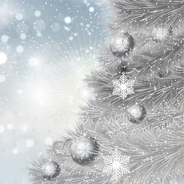 Silver christmas tree background Vector | Free Download