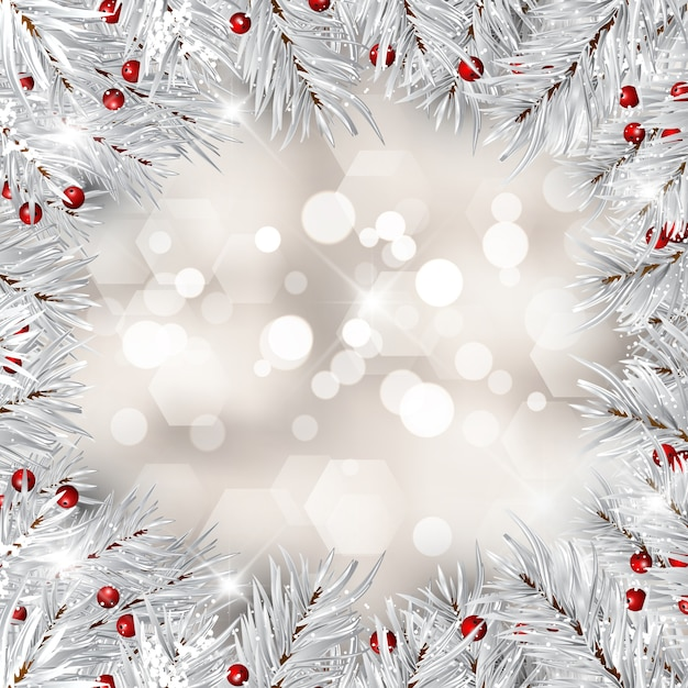 Silver christmas tree branches and red berries Free Vector