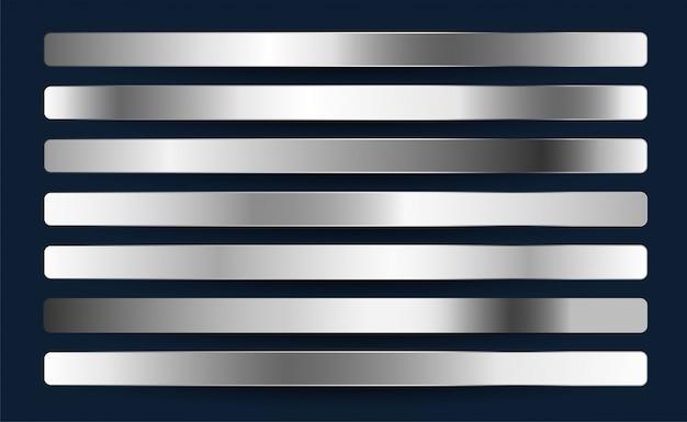 실버 크롬 백금 알루미늄 금속 그라디언트 세트 무료 벡터