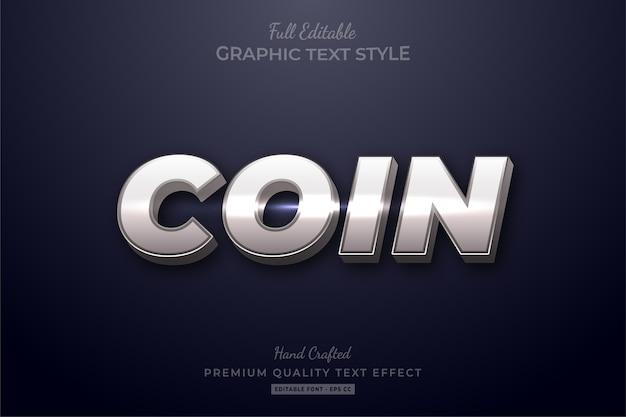 Редактируемый текстовый эффект silver coin shine Premium векторы