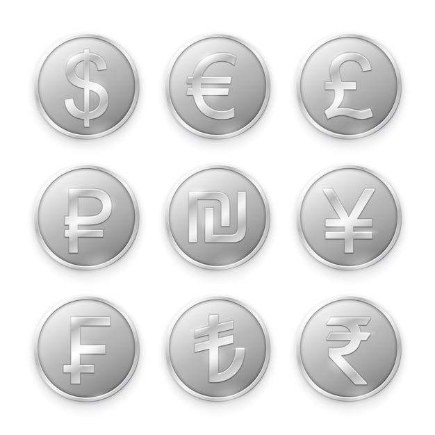 Серебряные монеты с символами ведущих мировых валют Premium векторы