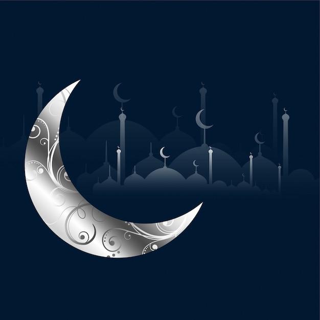 銀の装飾的な月とイスラム教のモスク 無料ベクター