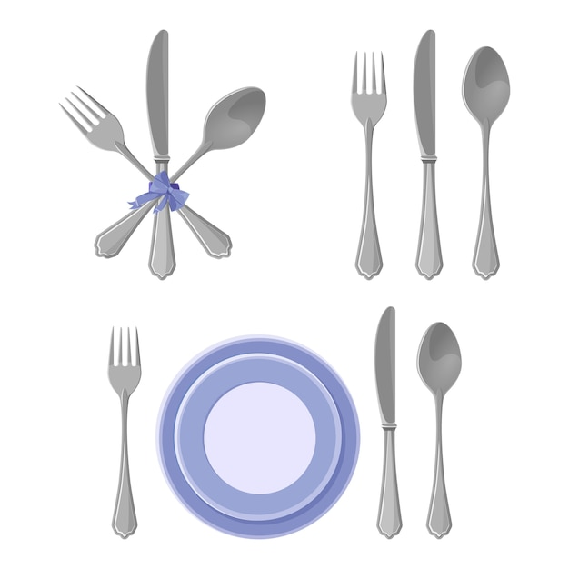 Silver dishes collection isolated, knives and forks with spoons Premium Vector