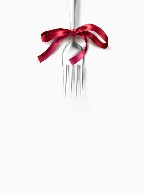 Silver fork with pink ribbon bow for festive dinner, restauran menu . Premium Vector