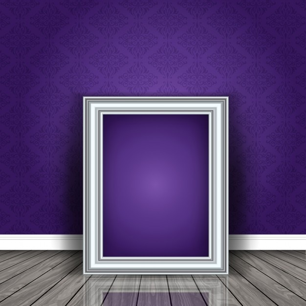 Silver frame on a purple wall Free Vector