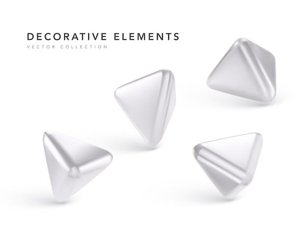 Серебряные геометрические 3d объекты, изолированные на белом фоне Premium векторы
