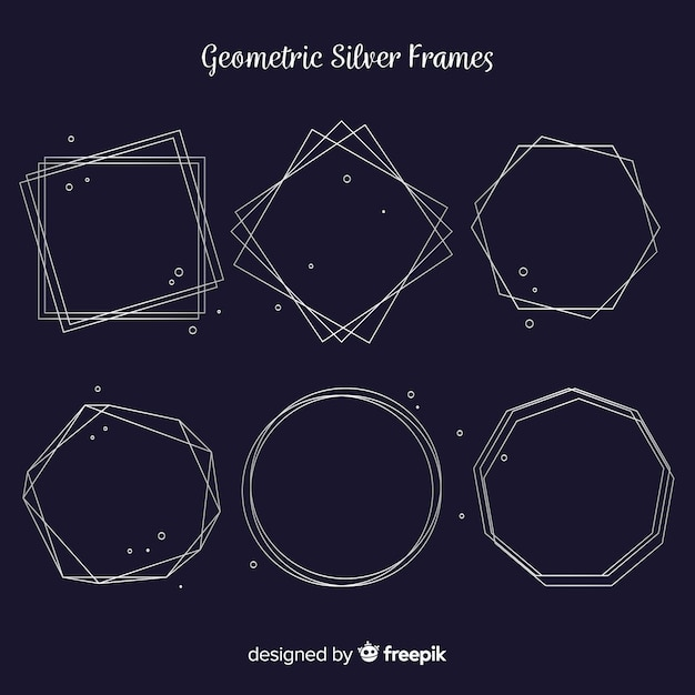 Silver geometric frame pack Free Vector