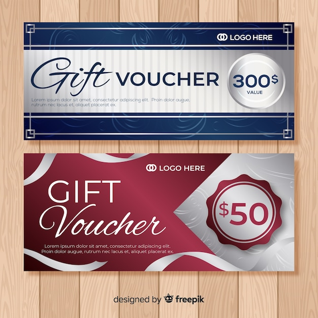 Silver gift voucher Free Vector