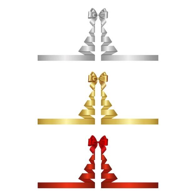Серебряные, золотые и красные ленты в форме елки с бантами Premium векторы