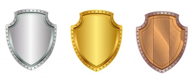 실버, 금색과 나무 방패 세트 아이콘 흰색 절연 프리미엄 벡터