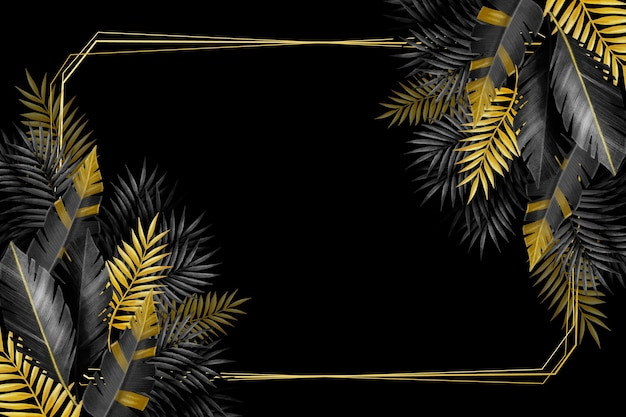Silver and gold tropical leaves and frame Free Vector