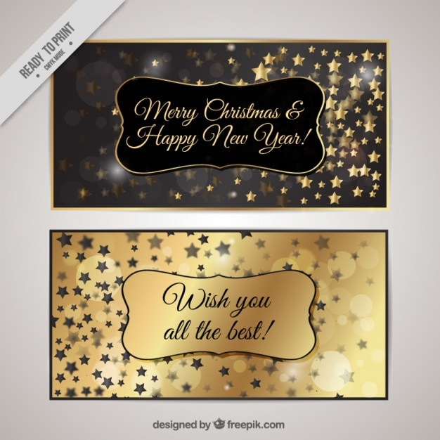 Silver and golden cards christmas with stars Free Vector