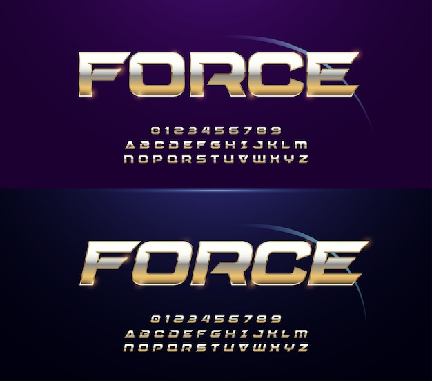 Silver and golden metal alphabet regular italic font Premium Vector
