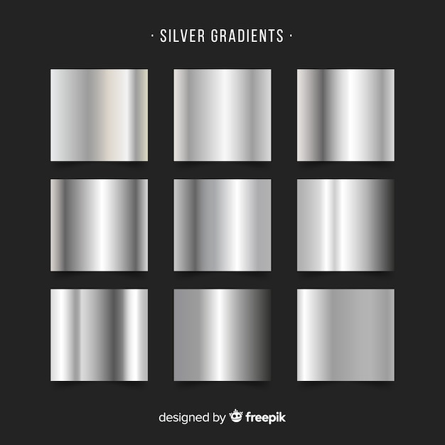 Silver gradient collection Free Vector