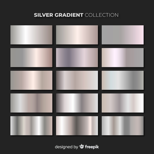Silver gradient pack Free Vector