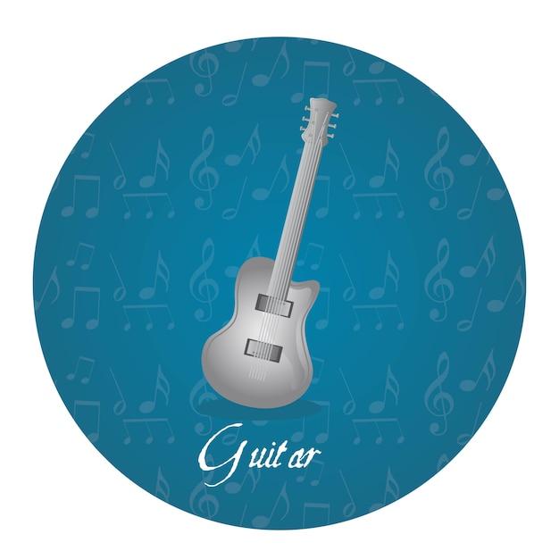 Серебряная гитара над тегом круга Premium векторы