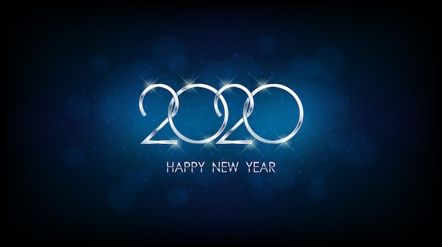 Silver happy new year 2020 with abstract bokeh and lens flare pattern in vintage blue color background Premium Vector