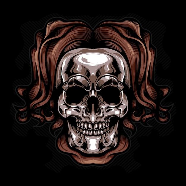 Silver head skull vector Premium Vector