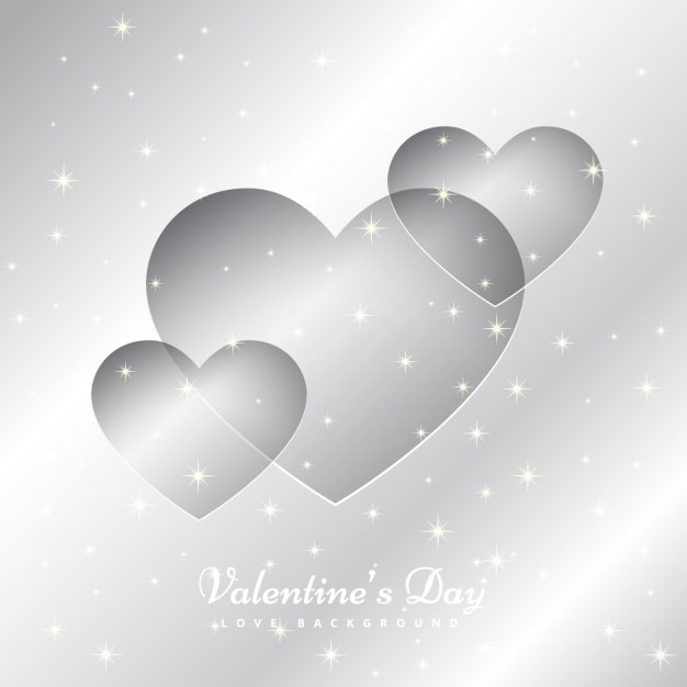 silver hearts background vector free download