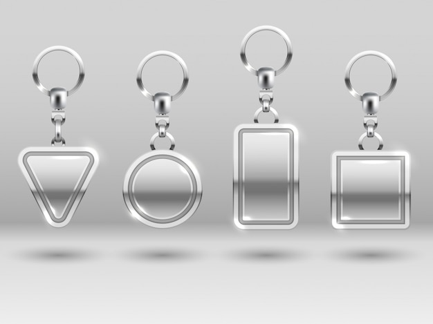 Silver keychains in different shapes for house door templates Premium Vector