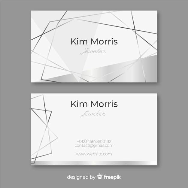 Silver lines business card Free Vector