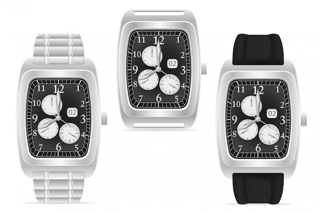Silver mechanical wristwatch vector illustration Premium Vector