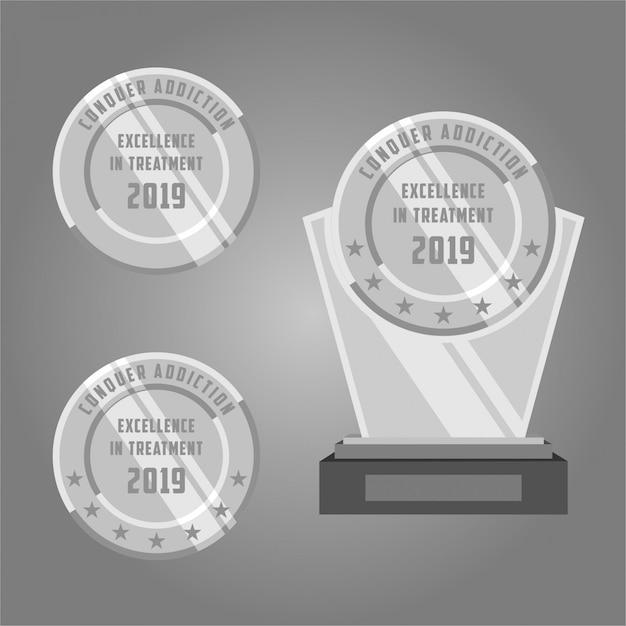 Silver medal Premium Vector