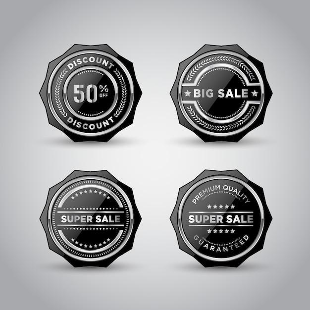 シルバーメタルバッジとラベルの製品テンプレート Premiumベクター