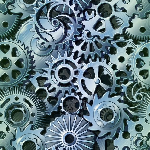 Silver metal gears pattern Free Vector