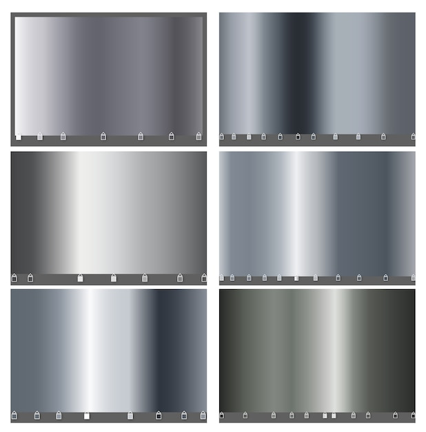 Silver metal luxury big set of simple gradient. silver metallic smooth foil material for the abstract background. design for frames, ribbons, coins, app, mobile cover wallpaper.  . Premium Vector