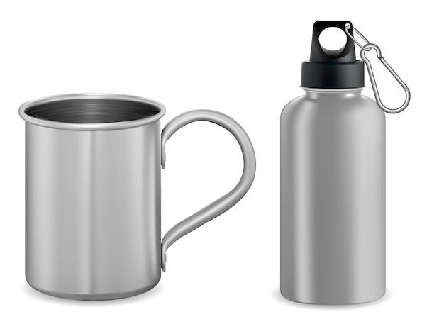 Silver metal mug. aluminum thermo vacuum flask. 3d Premium Vector