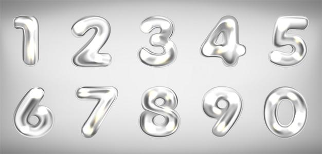 Silver metallic shining number symbols Premium Vector
