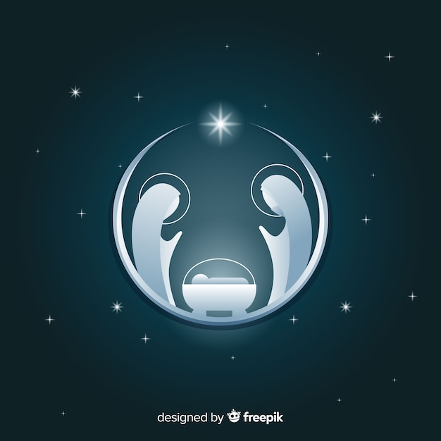 Silver nativity silhouette background Free Vector