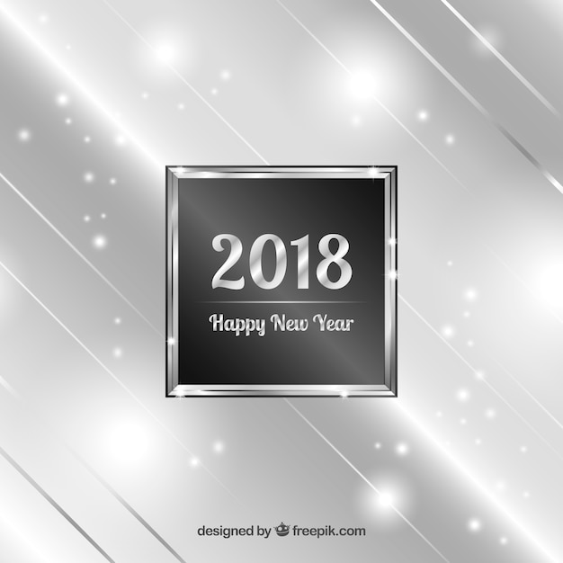 Silver new year 2018 background Free Vector