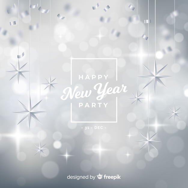 silver new year 2019 background free vector
