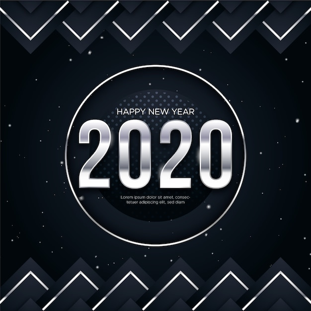 Silver new year 2020 background concept Free Vector