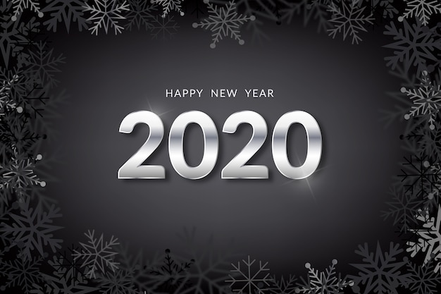 Silver new year 2020 background Free Vector