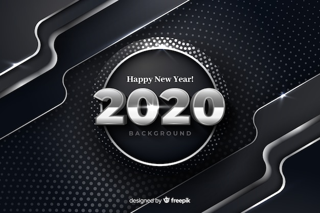 Silver new year 2020 on metallic background Free Vector