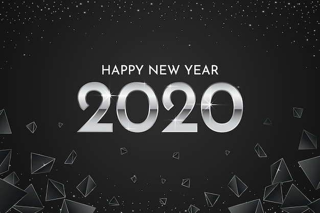 Silver new year 2020 wallpaper Free Vector