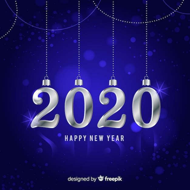 Silver new year 2020 Free Vector