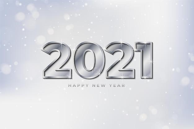 シルバー新年2021背景 無料ベクター