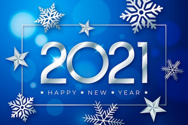 Серебряный новый год 2021 концепция Premium векторы