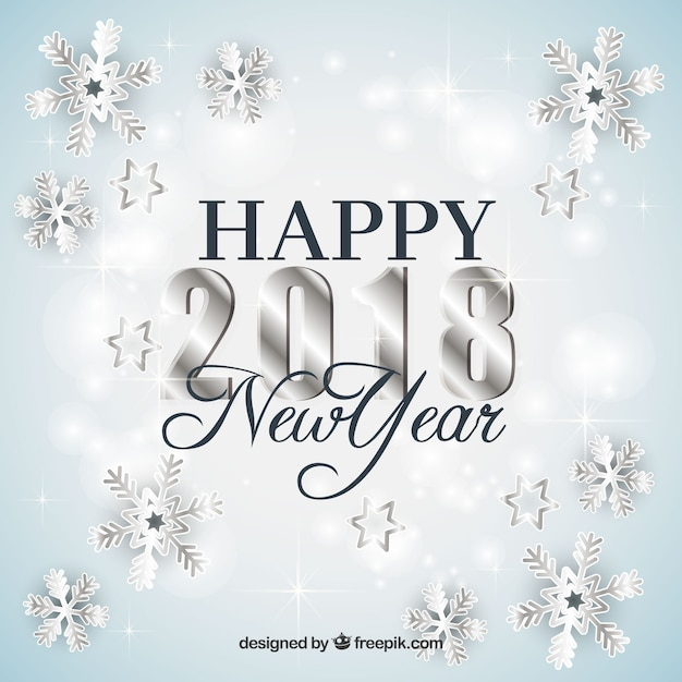 silver new year background with snowflakes