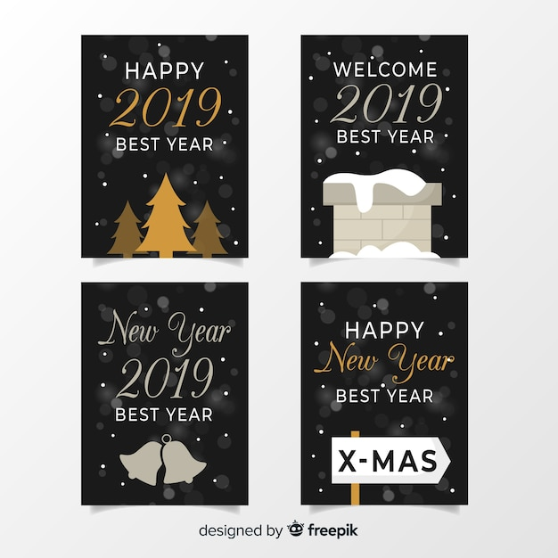 Silver new year cards set Free Vector