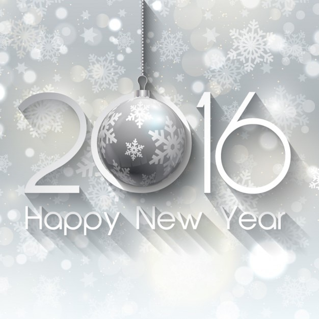 silver new year on a snowflakes background free vector